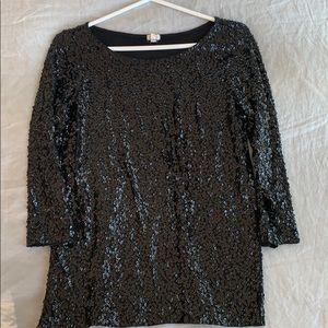 Jcrew Black Sequin Top Size S